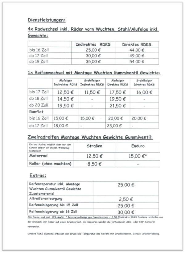 Reifen Schmid Preisliste 2019