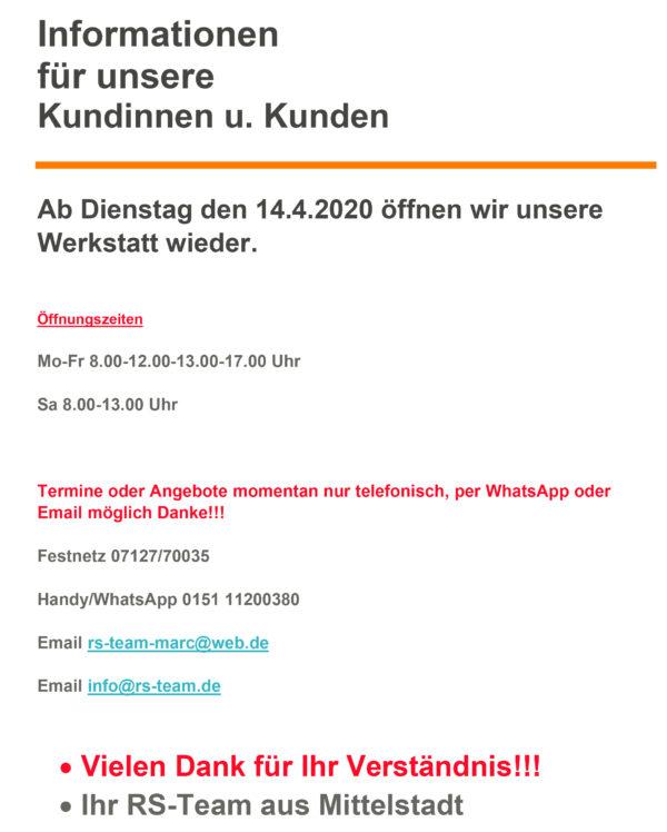 Reifen Schmid Werkstatt geöffnet
